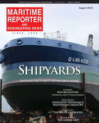 Maritime Reporter Magazine Cover Aug 2019 - The Shipyard Edition