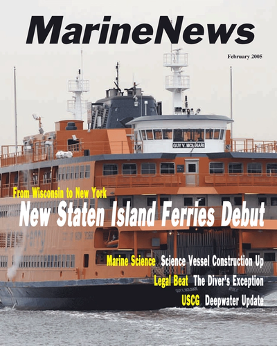Cover of February 2005 issue of Marine News Magazine