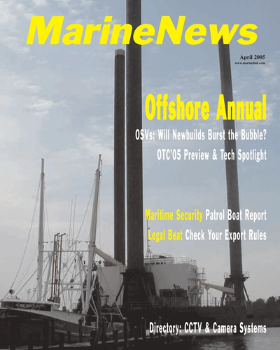 Cover of April 2005 issue of Marine News Magazine