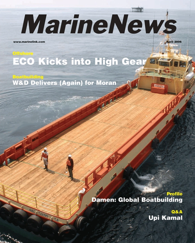 Cover of April 2006 issue of Marine News Magazine