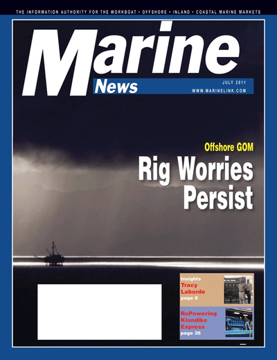 Cover of July 2011 issue of Marine News Magazine