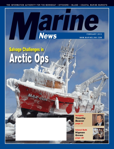 Cover of February 2012 issue of Marine News Magazine