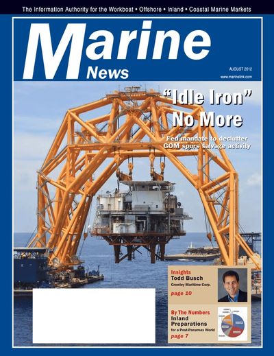 Cover of August 2012 issue of Marine News Magazine