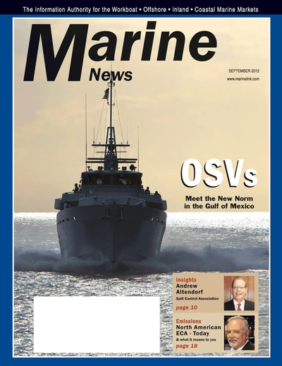 Cover of September 2012 issue of Marine News Magazine