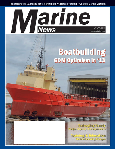 Cover of January 2013 issue of Marine News Magazine