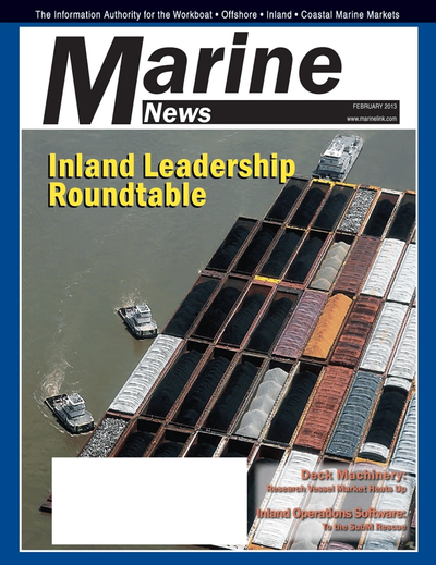 Cover of February 2013 issue of Marine News Magazine