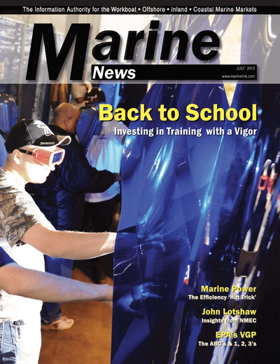 Cover of July 2013 issue of Marine News Magazine