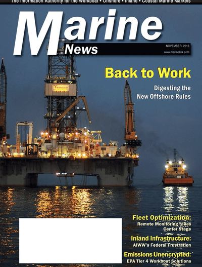 Cover of November 2013 issue of Marine News Magazine