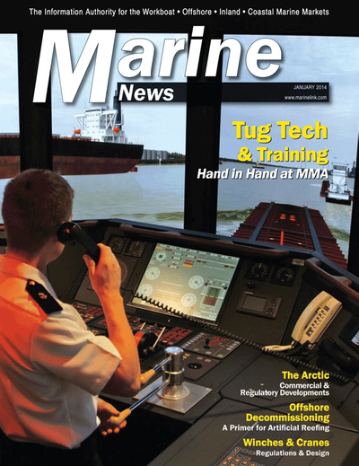 Cover of January 2014 issue of Marine News Magazine