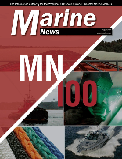 Cover of August 2014 issue of Marine News Magazine