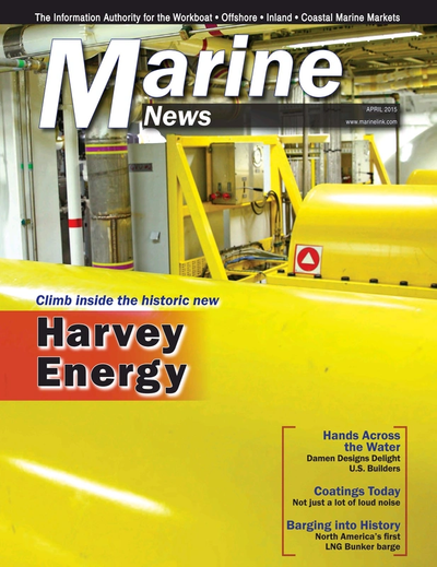 Cover of April 2015 issue of Marine News Magazine