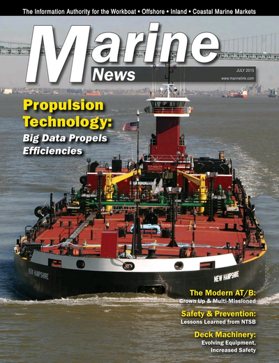 Cover of July 2015 issue of Marine News Magazine
