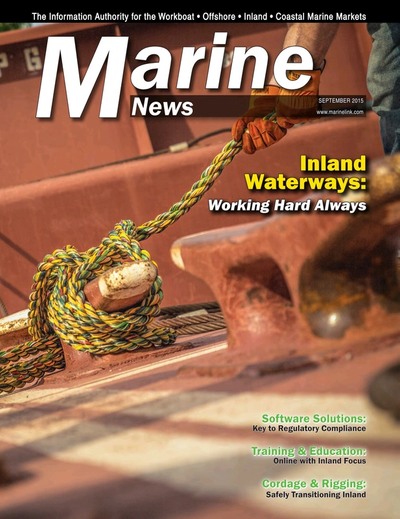 Cover of September 2015 issue of Marine News Magazine
