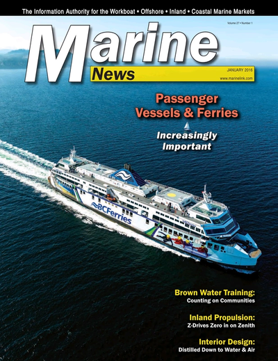 Cover of January 2016 issue of Marine News Magazine