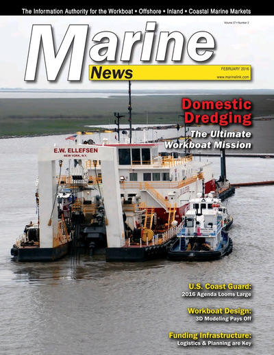 Cover of February 2016 issue of Marine News Magazine