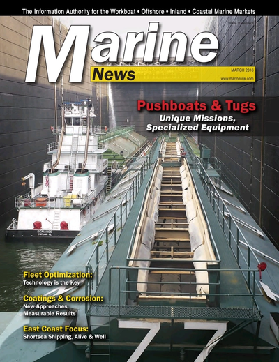 Cover of March 2016 issue of Marine News Magazine