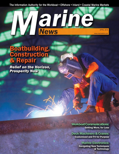 Cover of April 2016 issue of Marine News Magazine