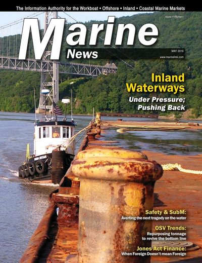 Cover of May 2016 issue of Marine News Magazine