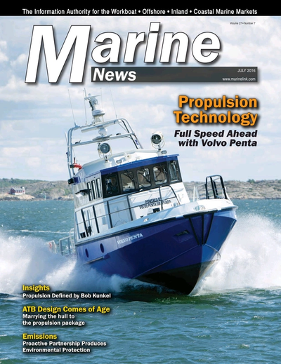 Cover of July 2016 issue of Marine News Magazine