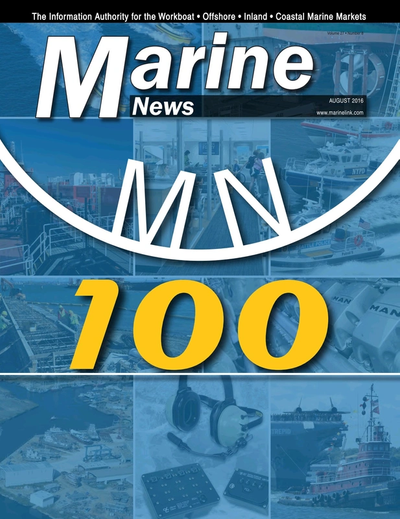 Cover of August 2016 issue of Marine News Magazine