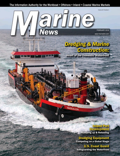 Cover of February 2018 issue of Marine News Magazine