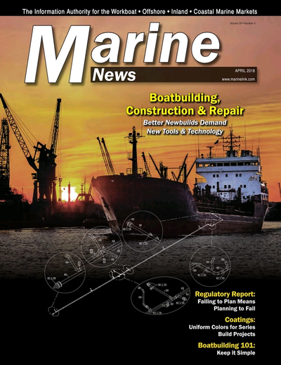 Cover of April 2018 issue of Marine News Magazine