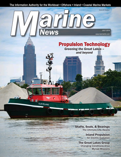 Cover of July 2018 issue of Marine News Magazine