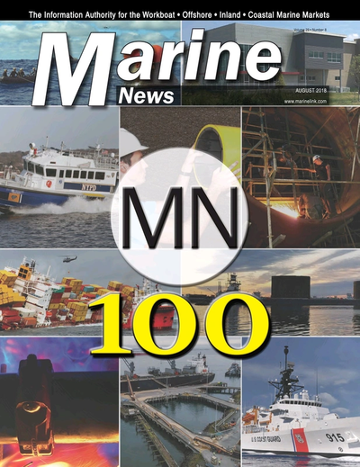 Cover of August 2018 issue of Marine News Magazine