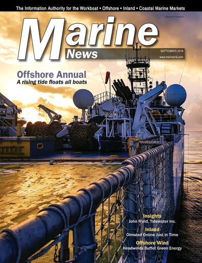 Cover of September 2018 issue of Marine News Magazine