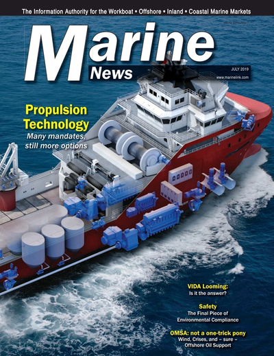 Cover of July 2019 issue of Marine News Magazine