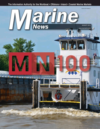 Cover of August 2019 issue of Marine News Magazine