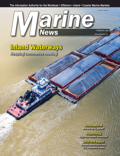 Cover of February 2020 issue of Marine News Magazine
