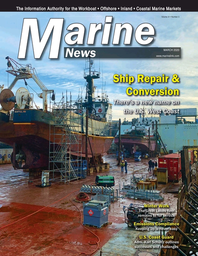 Cover of March 2020 issue of Marine News Magazine