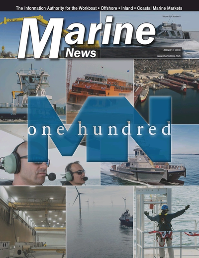 Cover of August 2020 issue of Marine News Magazine
