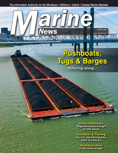 Cover of March 2021 issue of Marine News Magazine