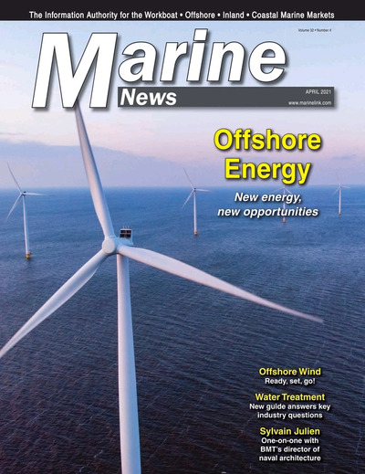 Cover of April 2021 issue of Marine News Magazine