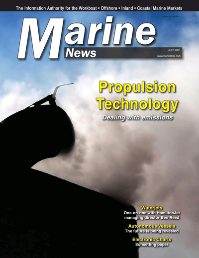 Cover of July 2021 issue of Marine News Magazine