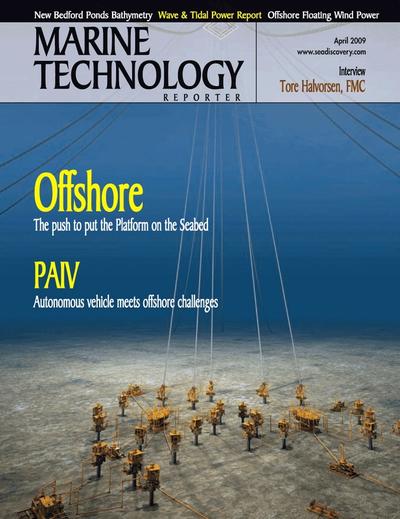 Cover of April 2005 issue of Marine Technology Reporter Magazine