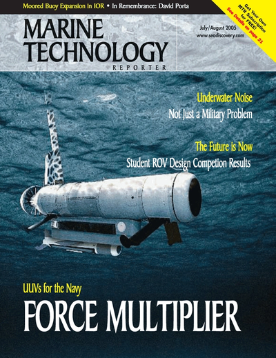 Cover of July 2005 issue of Marine Technology Reporter Magazine
