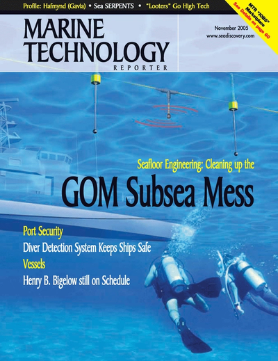Cover of November 2005 issue of Marine Technology Reporter Magazine