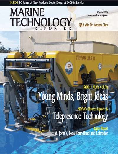 Cover of March 2006 issue of Marine Technology Reporter Magazine