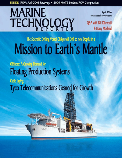 Cover of April 2006 issue of Marine Technology Reporter Magazine