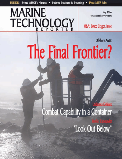 Cover of July 2006 issue of Marine Technology Reporter Magazine