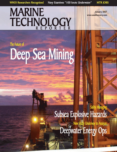 Cover of January 2007 issue of Marine Technology Reporter Magazine