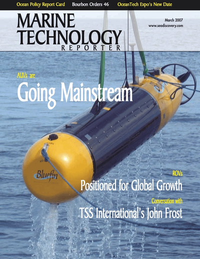 Cover of March 2007 issue of Marine Technology Reporter Magazine