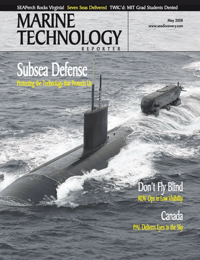 Cover of May 2008 issue of Marine Technology Reporter Magazine