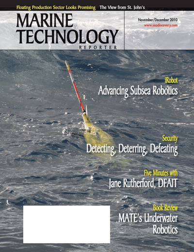Cover of November 2010 issue of Marine Technology Reporter Magazine
