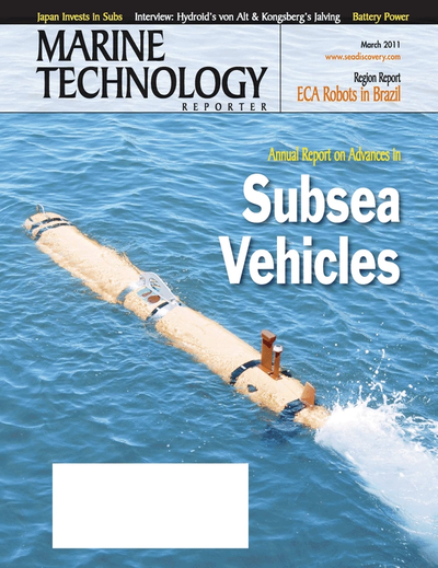 Cover of March 2011 issue of Marine Technology Reporter Magazine