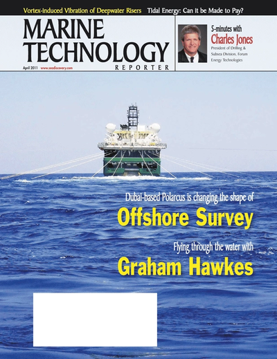 Cover of April 2011 issue of Marine Technology Reporter Magazine
