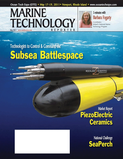 Cover of May 2011 issue of Marine Technology Reporter Magazine
